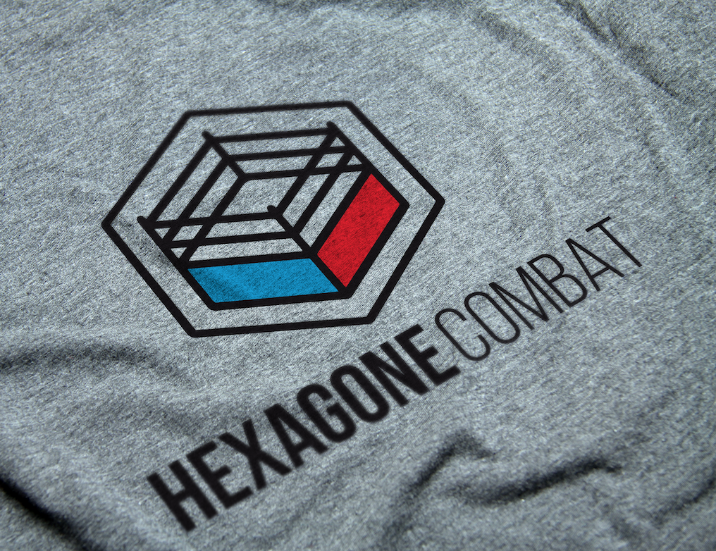 Hexagone combat savate t-shirt gris logo design boxe