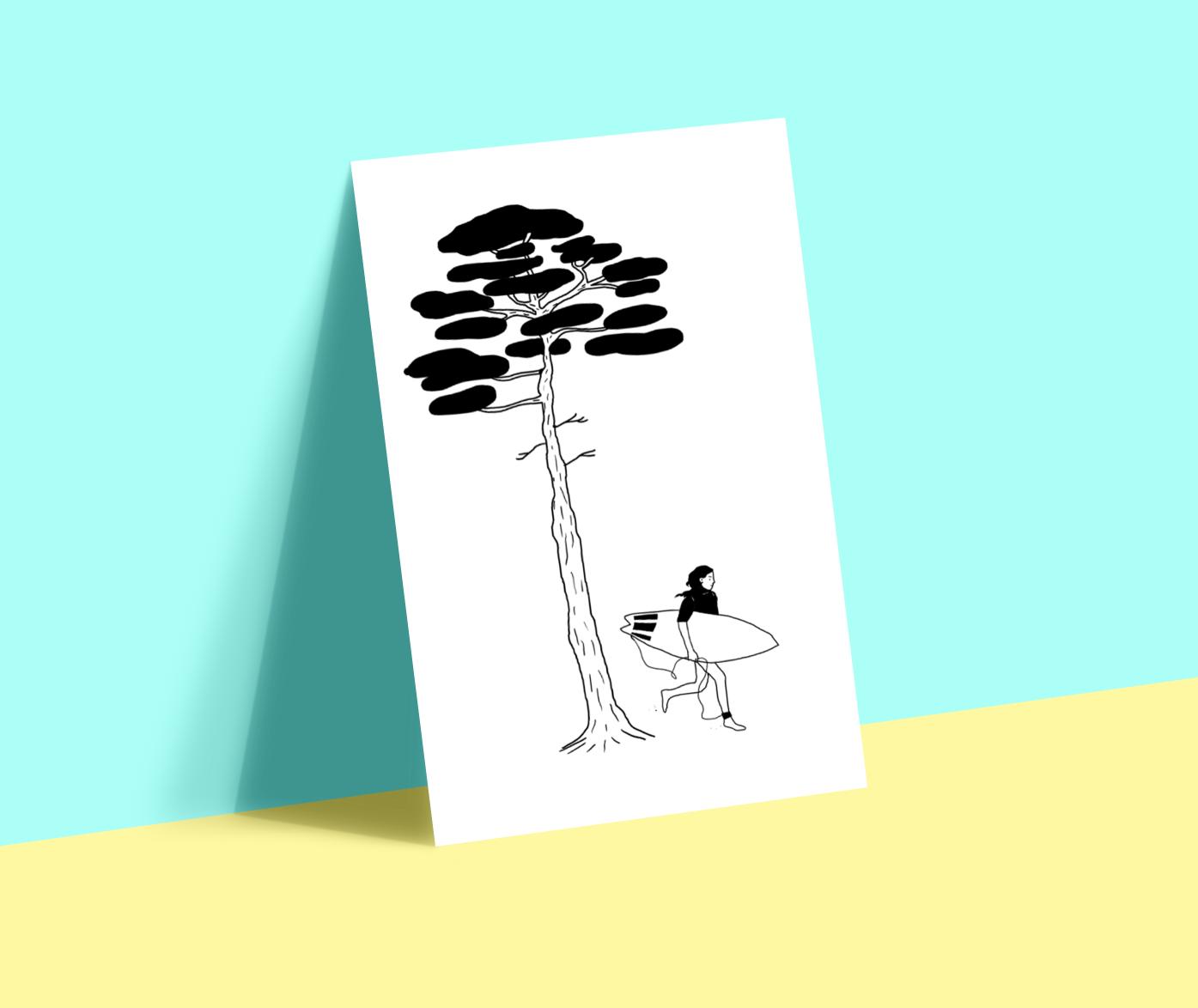 fresh summer illustration surf