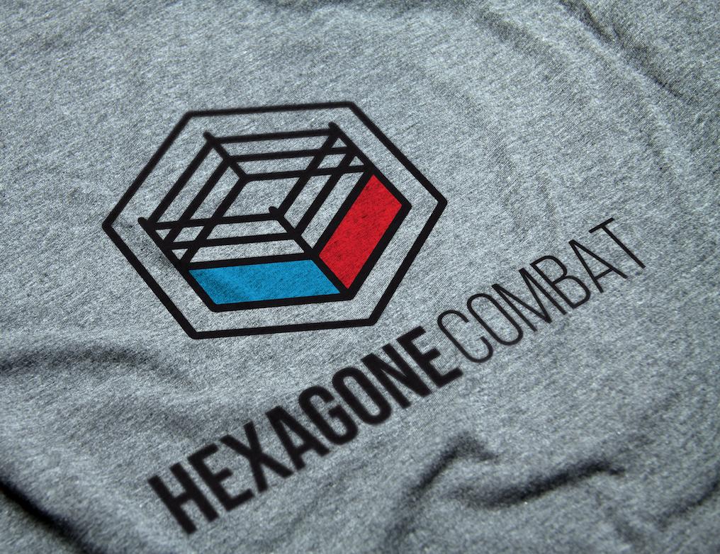 Hexagone combat savate t-shirt gris logo design boxe